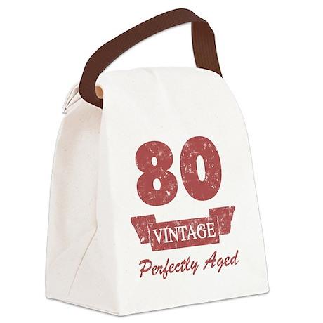80th Birthday Vintage Canvas Lunch Bag