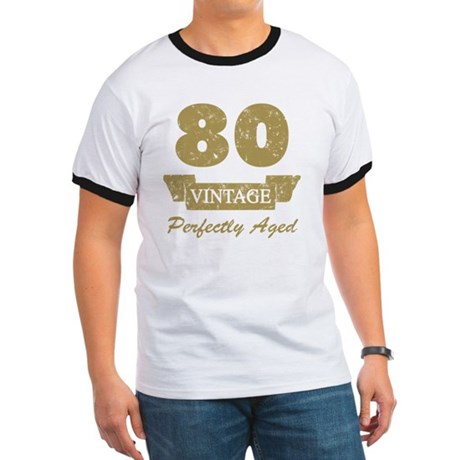 80th Birthday Vintage Ringer T