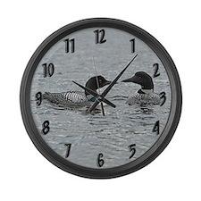 2 Loons Large Wall Clock