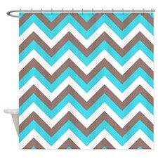 Brown and turquoise chevrons Shower Curtain