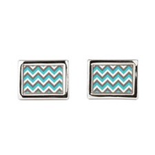 Brown and turquoise chevrons Cufflinks