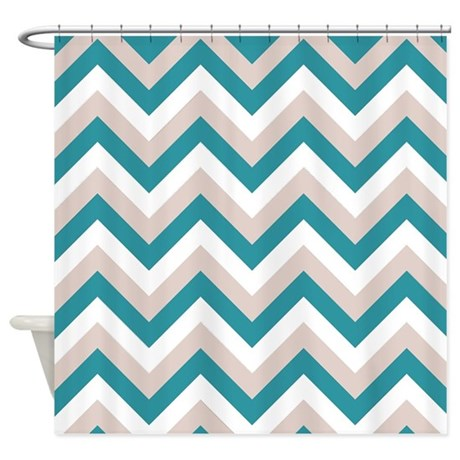 Brown And Medium Turquoise Chevron Shower Curtain By Zen