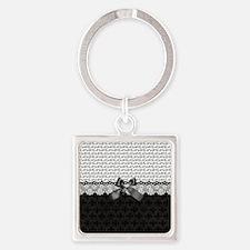 Elegant Black Love Square Keychain