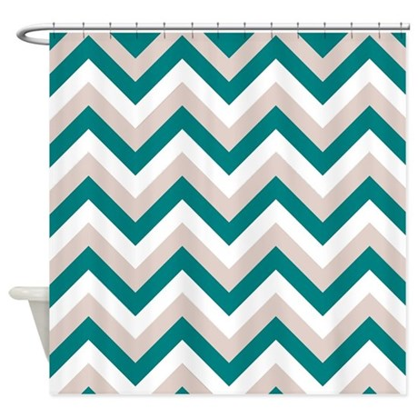 Brown And Teal Chevron Shower Curtain By FamilyFunShoppe