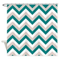Brown And Teal Chevron Shower Curtains