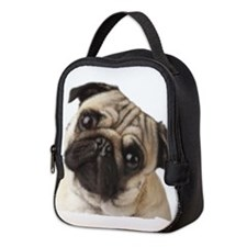 Pug Oil Painting Face Neoprene Lunch Bag