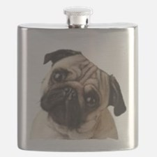 Pug Oil Painting Face Flask