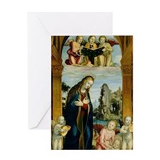 Mother Mary with Angels Greeting Card