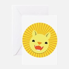 Cute Lion face Greeting Cards