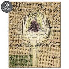 french botanical artichoke scripts vintage  Puzzle