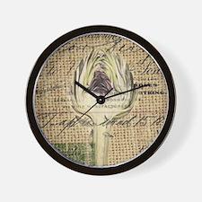 french botanical artichoke scripts vint Wall Clock