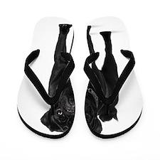 Black Pug Flip Flops