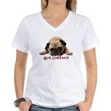 Pug Womens V-Neck T-shirts