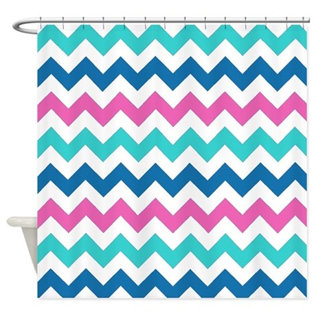 Turquoise Navy And Pink Chevrons Shower Curtain By Retroculture