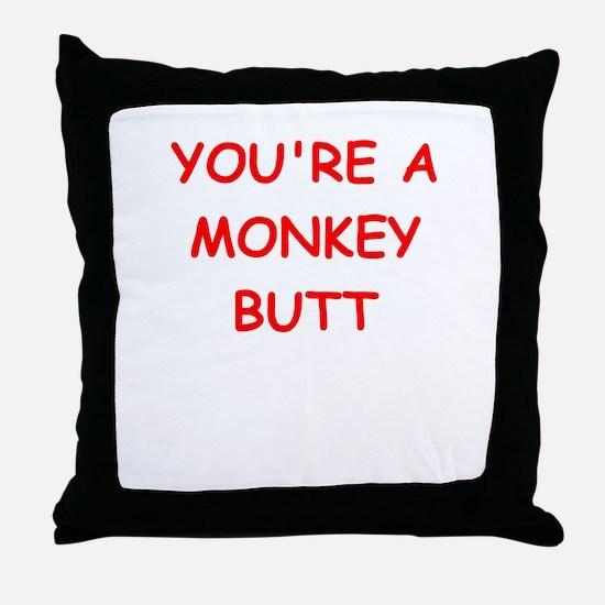 monkey butt Throw Pillow