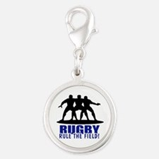 Rugby Rule The Field Silver Round Charm