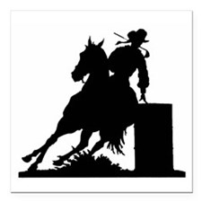 "Barrel Racing Square Car Magnet 3"" x 3"""