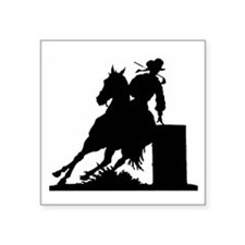 "Barrel Racing Square Sticker 3"" x 3"""