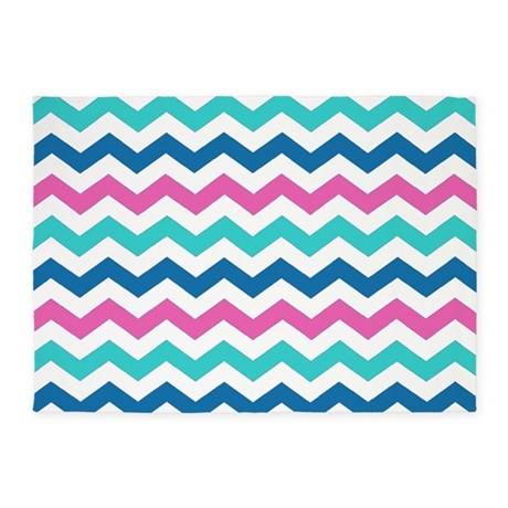turquoise navy and pink chevrons 5 39 x7 39 area rug by laughoutlouddesigns1. Black Bedroom Furniture Sets. Home Design Ideas