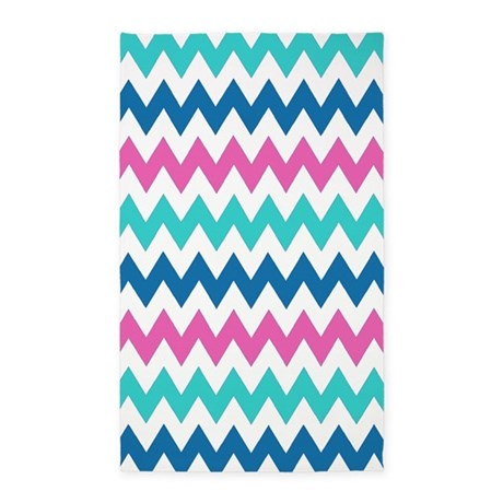 turquoise navy and pink chevrons 3 39 x5 39 area rug by erics designz. Black Bedroom Furniture Sets. Home Design Ideas