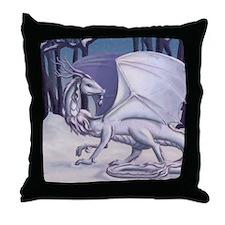 Snow Dragon Throw Pillow