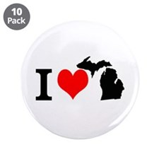 I Love Michigan 3.5&Quot; Button (10 Pack)