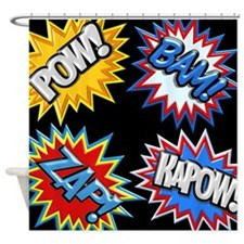 Comic Book Bursts Pow! 3D Shower Curtain