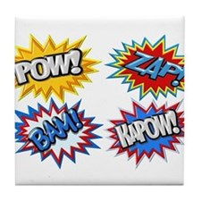 Comic Book Bursts Pow! 3D Tile Coaster