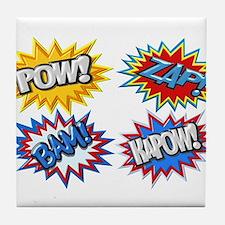 Comic Book Bursts Pow! 3D Tile Coaster