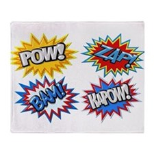 Comic Book Bursts Pow! 3D Throw Blanket