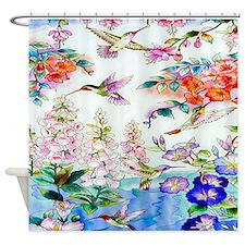 Hummingbirds Flowers Landscape Shower Curtain
