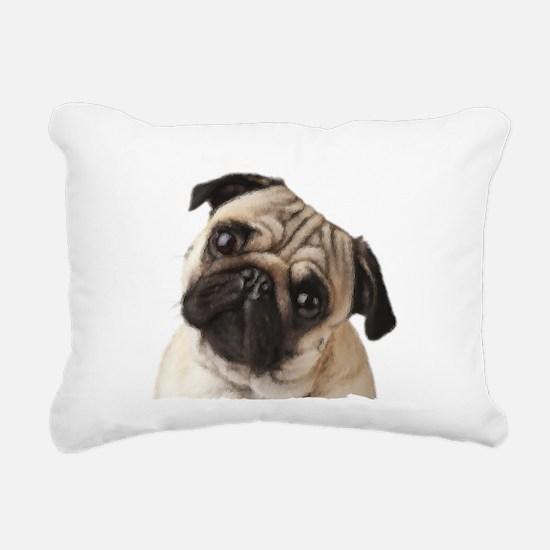 Pug Oil Painting Face Rectangular Canvas Pillow