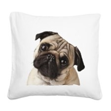 Pug Oil Painting Face Square Canvas Pillow