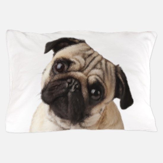 Pug Oil Painting Face Pillow Case