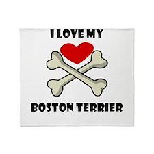 I Love My Boston Terrier Throw Blanket
