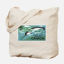 Vintage 1968 Canada Narwhal Postage Stamp Tote Bag
