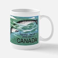 Vintage 1968 Canada Narwhal Postage Stamp Mugs
