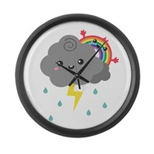 Kawaii Rainbow Behind Every Dark Cloud Large Wall