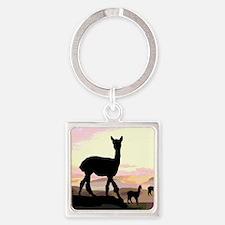 Sunset Hills Alpacas Square Keychain