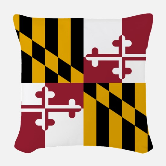 Flag of Maryland Woven Throw Pillow