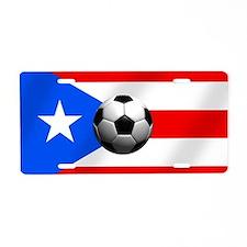 Puerto Rican Futbol Flag Aluminum License Plate