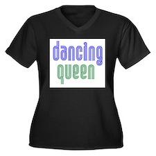Dancing Queen Women's Plus Size V-Neck Dark T-Shir