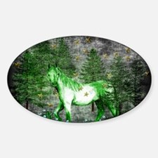 Year Of The Green Horse Sticker (Oval 10 pk)