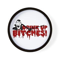 Dracula Drink up Bitches Halloween Wall Clock