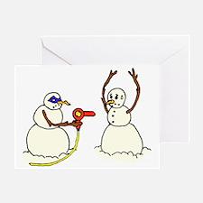 Snowman Bandit Robbing Brethren with Greeting Card