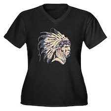 Indian Chief Women's Plus Size Dark V-Neck T-Shirt