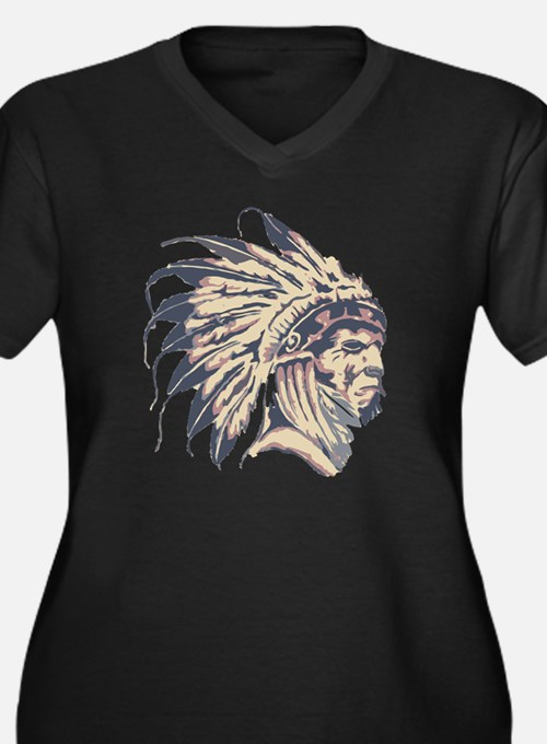 Indian Chief Women's Plus Size Dark V-Neck T-Shirt
