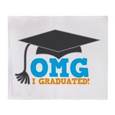 OMG I graduated! with mortar Board hat Throw Blank