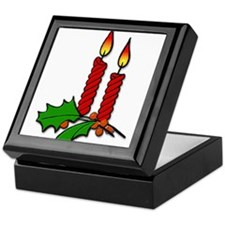 Red Christmas Candles with Holly Keepsake Box