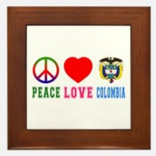 Peace Love Colombia Framed Tile